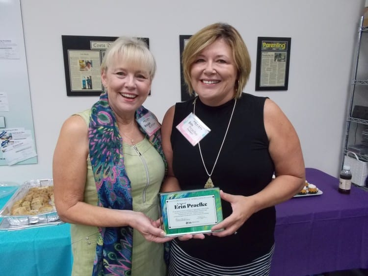 Erin Praefke awarded by Guild President Margie Bushaw
